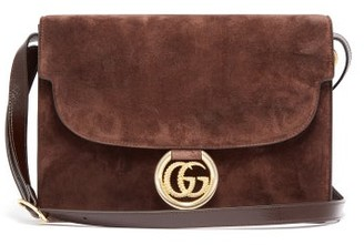 Gucci GG-ring Suede Shoulder Bag - Womens - Brown