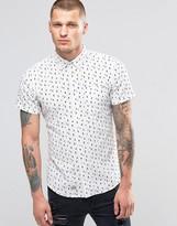 Blend of America Short Sleeve Slim Shirt Diamond Print