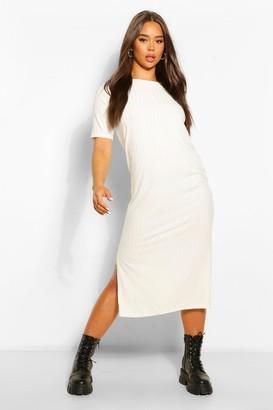 boohoo Recycled Rib Tunic Midi Dress