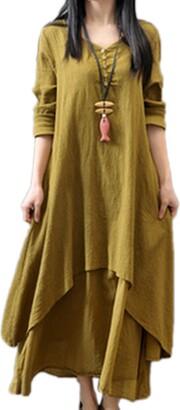 Yulinge Women Casual Dresses Elegant Vintage Swing Linen Cotton Plus Size Maxi Dress Black 3XL