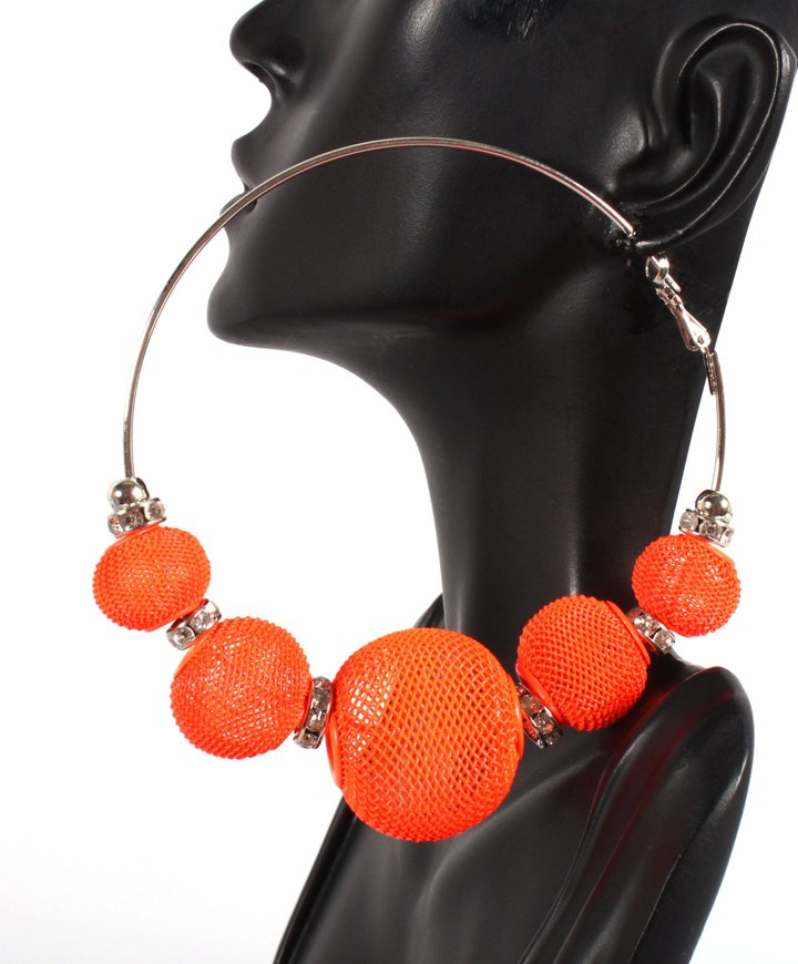 Basketball Wives 3.5 Inch Neon Hoop Earrings with 5 Mesh Disco Balls and Rondelle Loops Paparazzi Lady Gaga