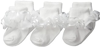 Jefferies Socks Frilly Lace (Infant/Toddler/Little Kid/Big Kid) (White) Girls Shoes