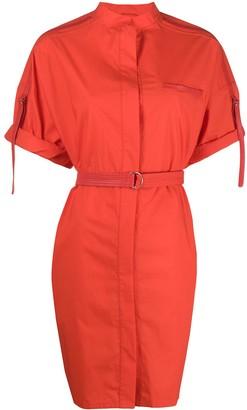 Yves Salomon Short-Sleeve Belted Dress