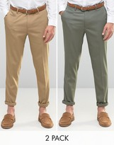 Asos 2 Pack Skinny Smart Trousers In Brown And Khaki