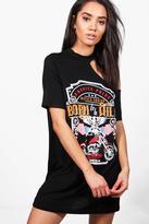 Boohoo Petite Becca One Shoulder Print T-shirt Dress
