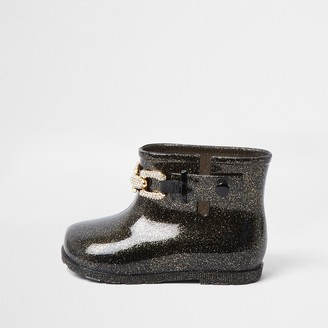 River Island Mini girls Black glitter chain wellie boots
