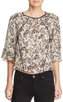 d.RA Liu Leaf-Print Piped Top