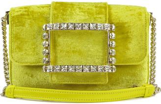 Roger Vivier Tres Vivier Velvet Crystal Buckle Clutch Bag
