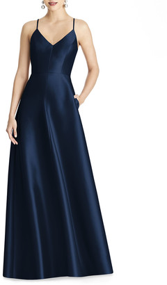 Alfred Sung V-Neck Sleeveless Cross-Back Sateen Gown