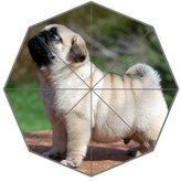 Custom Umbrella Cartoon Cute Pug Puppy Dog Custom Foldable Umbrella DIY Umbrella Rainy / Sunny Gifts