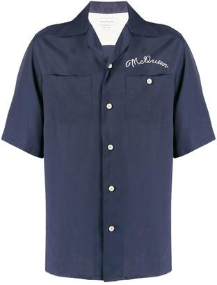 Alexander McQueen Embroidered Logo Bowling Shirt