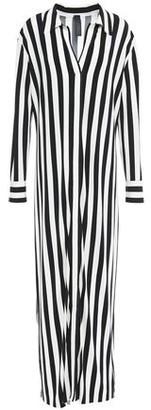 Norma Kamali Striped Stretch-jersey Maxi Shirt Dress
