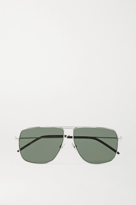 Saint Laurent Oversized Aviator-style Silver-tone And Tortoiseshell Acetate Sunglasses