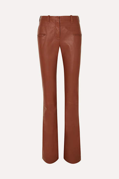 Altuzarra Serge Leather Flared Pants - Brown