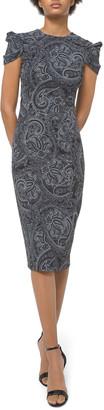 Michael Kors Collection Paisley Draped Cap-Sleeve Sheath Dress