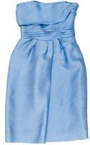 Alberta Ferretti Pleated Silk Strapless Dress
