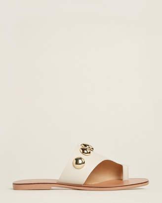 Kurt Geiger White Deena Studded Flat Sandals