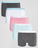 Asos Trunks In Pastel 5 Pack SAVE