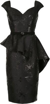 Saiid Kobeisy Floral Peplum Midi Dress