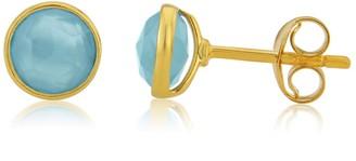 Auree Jewellery Savanne Gold Vermeil & Blue Chalcedony Stud Earrings