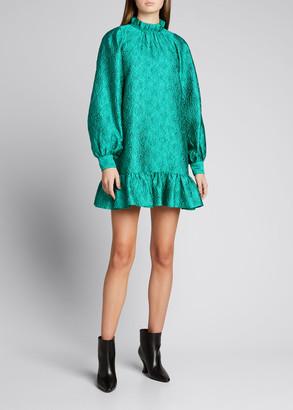 Ulla Johnson Emilia Long-Sleeve Ruffle-Hem Mini Dress