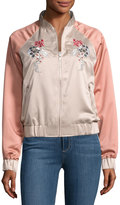 Glamorous Dragon-Embroidered Satin Bomber Jacket, Pink