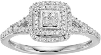 Hallmark Love Found Us Sterling Silver 1/3 Carat T.W. Diamond Cluster Square Halo Ring
