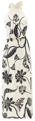 Johanna Ortiz Ancient Dynasty Floral-print Halterneck Silk Dress - Cream Multi