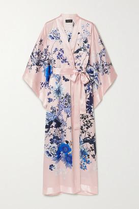 MENG Floral-print Silk-satin Kimono - Pastel pink