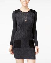 Amy Byer Juniors' Faux-Suede-Trim Sweater Dress