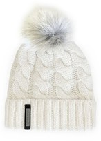 Soia & Kyo Women's Cable Knit Beanie With Genuine Coyote Fur Pom - Ivory