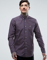 Lacoste Shirt With Poplin Check In Regular Fit Navy