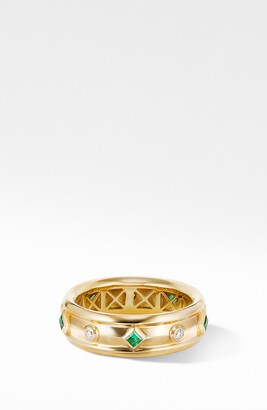 David Yurman Modern Renaissance Ring in 18K Yellow Gold with Emeralds and Diamonds