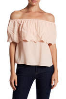 Honey Punch Embroidered Ruffle Off-the-Shoulder Shirt