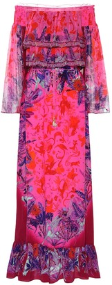 Camilla Printed off-shoulder silk maxi dress