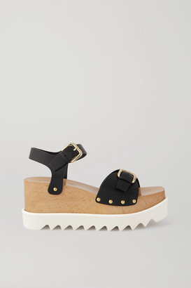 Stella McCartney Elyse Studded Vegetarian Leather Platform Sandals - Black