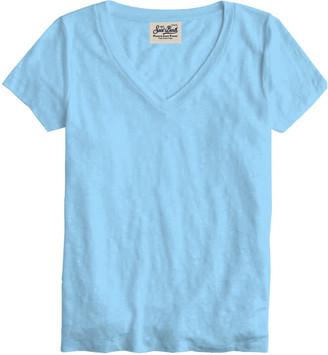 MC2 Saint Barth Light Blue Linen T-shirt