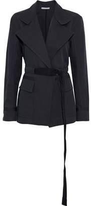 Vince Belted Linen And Cotton-blend Gabardine Jacket