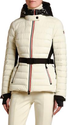 MONCLER GRENOBLE Channel-Quilt Tricolor-Zip Jacket w/ Belt