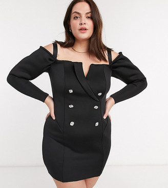 ASOS DESIGN Curve embellished buttons off shoulder tux mini dress in black