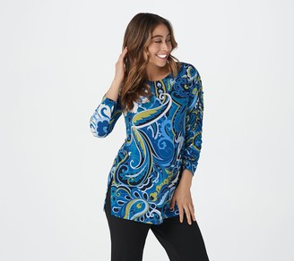 Susan Graver Printed Liquid Knit Tunic with Ruched Sleeves