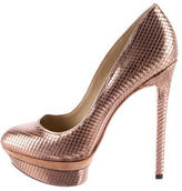 Brian Atwood Embossed Metallic Platform Pumps