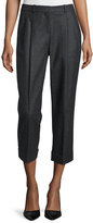 Michael Kors Cashmere-Blend Slim-Leg Cropped Pants, Charcoal
