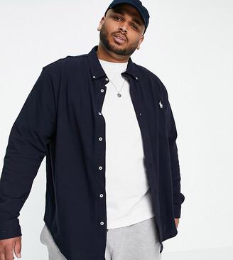 Polo Ralph Lauren Big & Tall pique shirt player logo buttondown in navy