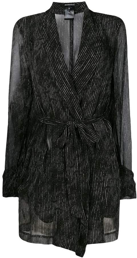 Ann Demeulemeester sheer striped tie jacket