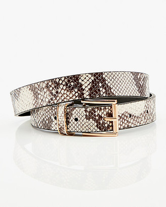 Le Château Snake Embossed Faux Leather Skinny Belt
