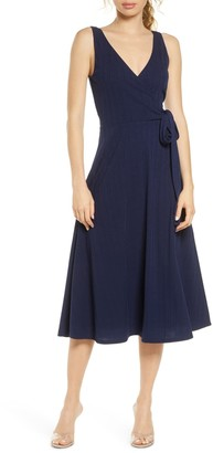 Charles Henry Faux Wrap Knit Midi Dress
