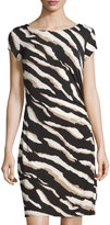 Laundry by Shelli Segal Zebra-Print Short-Sleeve Sheath Dress, Khaki/Black