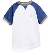 U.S. Polo Assn. White & Blue Raglan Tee - Boys