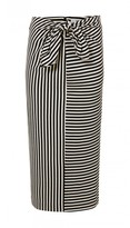 Tibi Ren Stripe Tie Front Skirt